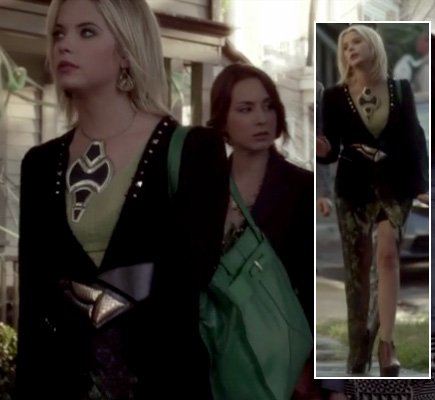 Hanna's studded blazer, green skirt and bag with statement necklace