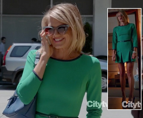 Jane's green dress with navy trim on Happy Endings season 3