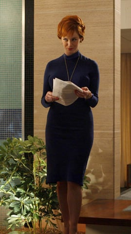 Joan's blue high neck dress on Mad Men