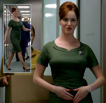 Joans green dress on Mad Men pilot