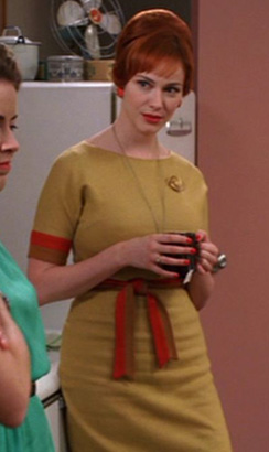 Joan's mustard and orange dress on Mad Men