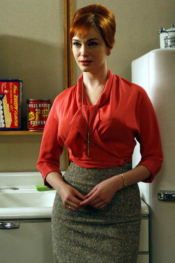 Joan's red wrap blouse and pencil skirt on Mad Men