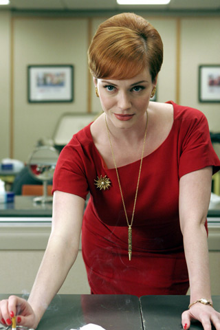 Joan's red wiggle dress on Mad Men