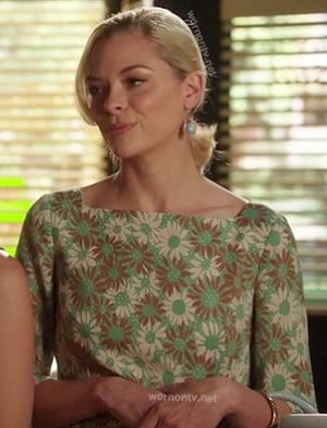 Lemon's green and brown daisy print dress on Hart of Dixie