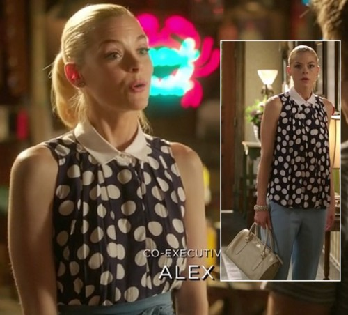 Lemon's polka dot top with white collar and light blue pants on Hart of Dixie