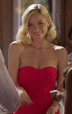Lemon's red lace strapless dress on Hart of Dixie