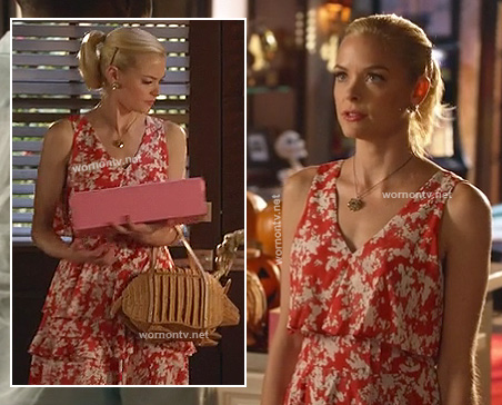 Lemon's straw armadillo bag and red ruffle dress on Hart of Dixie