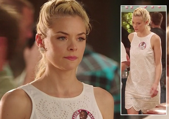 Lemon's white eyelet scalloped dress on Hart of Dixie