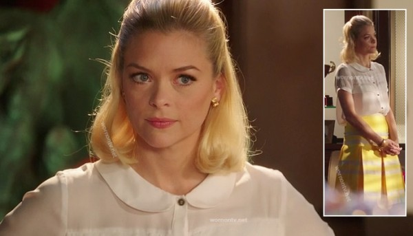 Lemon's white blouse with yellow striped box pleated skirt on Hart of Dixie season 2