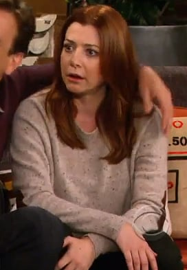 Lily's beige sweater with elbow patches on How I Met Your Mother