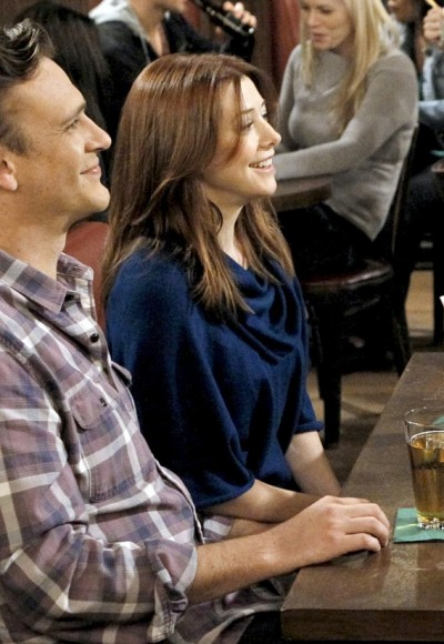 Lily's navy blue cowl neck sweater on HIMYM Season 8
