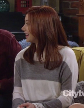 Lily's grey and white stripe sweater on HIMYM season 8