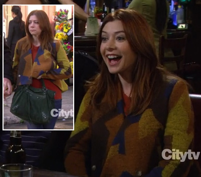 Lily's yellow and brown jacket with green bag on How I Met Your Mother