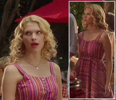 Magnolia's pink striped dress on Hart of Dixie