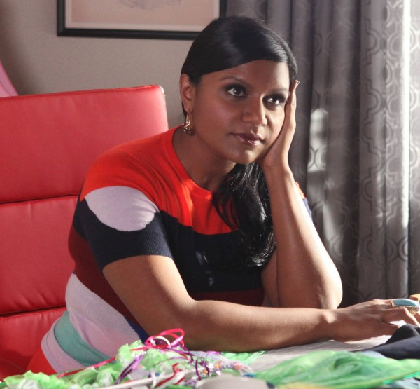 Mindy Kaling's striped shortsleeve sweater on The mindy project