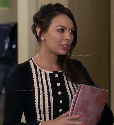 Mona's black and white sweater dress on Pretty Little Liars