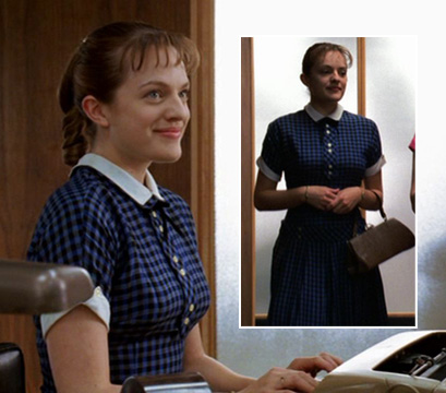 Peggy's blue dress with white collar on Mad Men