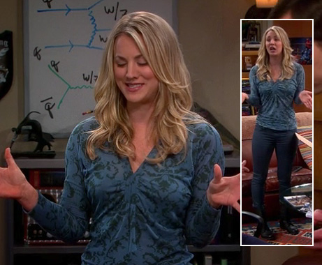Penny's blue top with green damask pattern and black boots on The Big Bang Theory