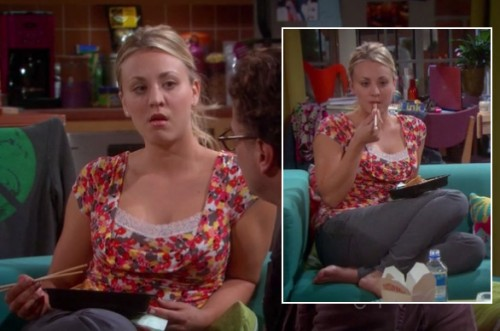 Penny's floral print top with lace on The Big Bang Theory
