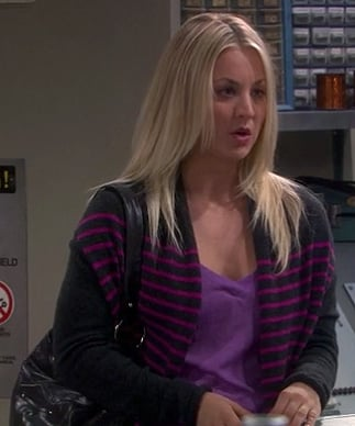 Penny's purple striped cardigan on The Big Bang Theory
