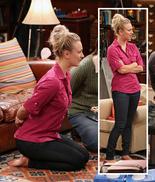 Penny's red top with white buttons on The Big Bang Theory
