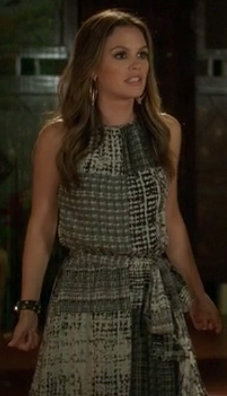 Rachel Bilson's check print dress and studded wrap bracelet on Hart of Dixie