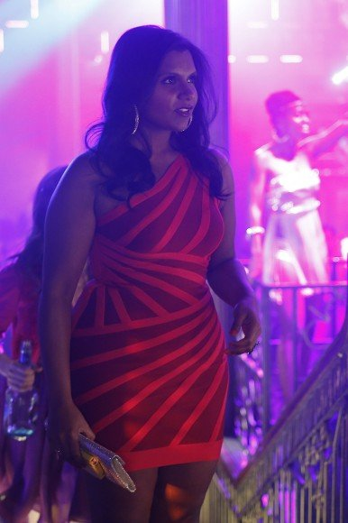 Mindy Kaling's red one shoulder bandage dress on Mindy Project