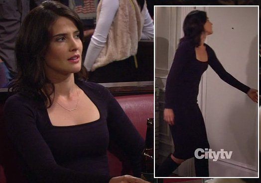 Robin's navy longsleeve dress on How I Met Your Mother