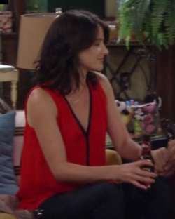 Robin's red top with black trim on How I Met Your Mother