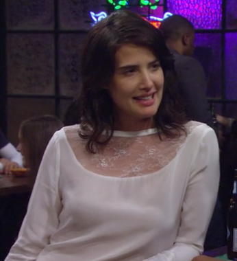 Robin's white longsleeve top with lace inset on How I Met Your Mother