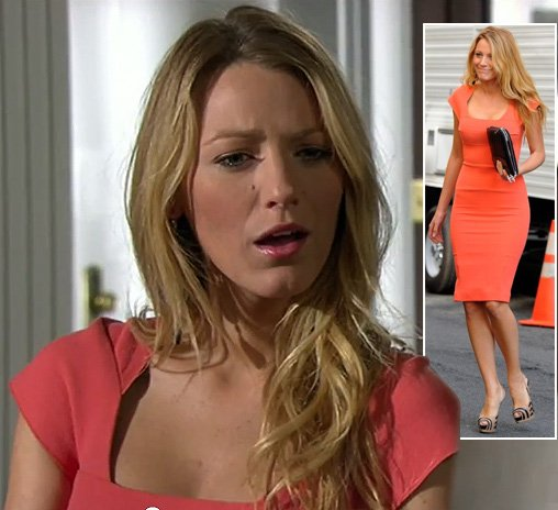Serena's orange pencil dress on Gossip Girl season 6
