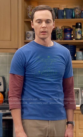 Sheldon's blue superman vitruvian man shirt on The Big Bang Theory