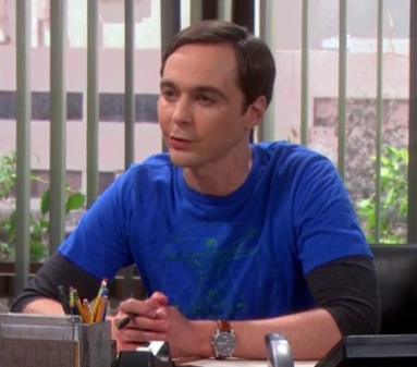 Sheldon's blue vitruvian man tshirt on The Big Bang Theory season 6