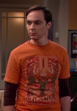 Sheldon's orange Aquaman shirt on The Big Bang Theory season 6