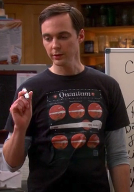 "Sheldon's ""Quantum"" tshirt on The Big Bang Theory"
