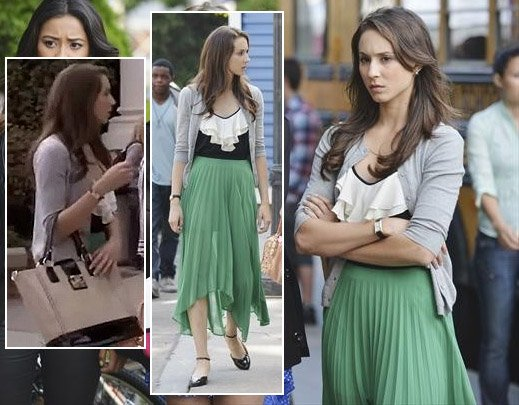 Spencer's green maxi skirt and tote bag on Pretty Little Liars