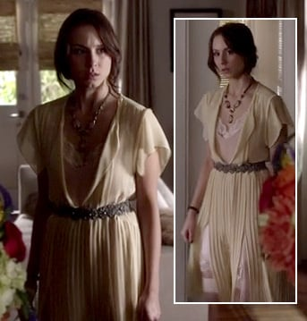 Spencer's yellow dress with pleats and splits on Pretty Little Liars