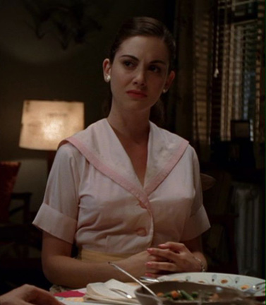 Trudy's pastel pink dress on Mad Men