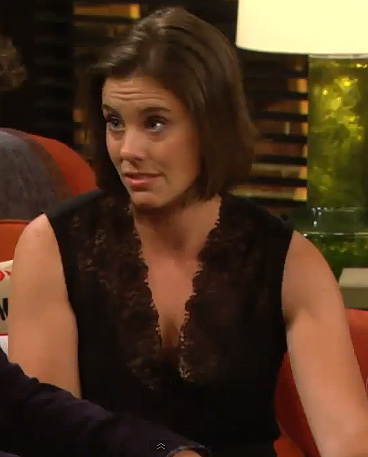 Victoria's black lace top on HIMYM season 8