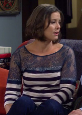 Victoria's blue striped sweater with lace on How I Met Your Mother