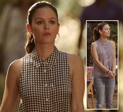 Zoe's black and white check top on Hart of Dixie