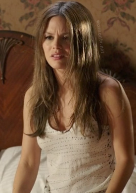 Zoe's white tank top with paint splatter pattern on Hart of Dixie season 2