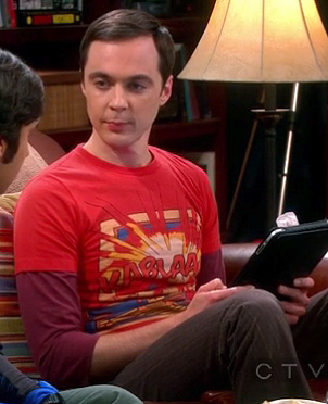 Sheldon's red 'kablaam' shirt on The Big Bang Theory
