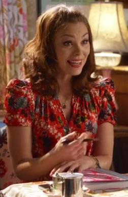 Annabeth's red printed puff sleeve dress on Hart of Dixie