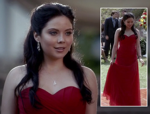April's red strapless dress on The Vampire Diaries