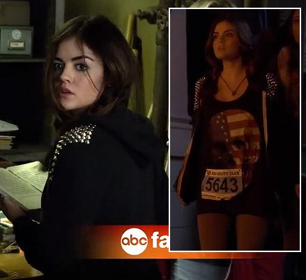 Aria's black studded hoodie and flag/skull shirt on Pretty Little Liars