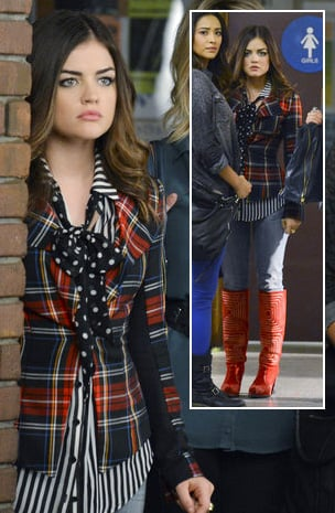 Aria's black and white striped shirt with polka dot bow, plaid blazer and red boots on Pretty Little Liars