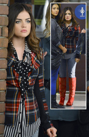 Aria's plaid blazer and red boots on Pretty Little Liars