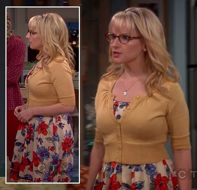 Bernadette's floral dress with yellow cropped cardigan on The Big Bang Theory