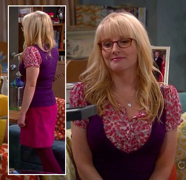 Bernadette's pink floral blouse with a purple vest on The Big Bang Theory
